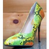 Multi-color Stiletto Heels Colorful Python Pointy Toe Pump Dress Shoes thumb 1