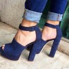 Navy Chunky Heels Platform Pumps Peep Toe Ankle Strap Sandals thumb 1