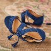 Navy Suede Flat Sandals Lace Up Open Toe Sandals thumb 1