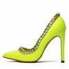 Neon Yellow Pointy Toe Stiletto Heels Pumps with Chain thumb 1