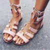 Pink Gladiator Sandals Open Toe  Flats Lace up Strappy Sandals thumb 1