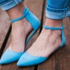 Women's Blue Pointy Toe Dress Shoes Suede Ankle Strap Pumps thumb 1