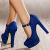 Women's Navy Suede Mary Jane Shoes Platform Chunky Heels Pumps thumb 1