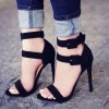 Women's Black Suede Stiletto Heels Open Toe Buckle Ankle Strap Sandals  thumb 1