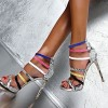 Women's Multicolored Open Toe Stiletto Heels Strappy Python Ankle Strap Sandals thumb 1