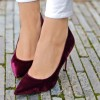 Burgundy Velvet Heels Pointy Toe Stiletto Heel Pumps thumb 1