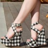 Women's Black and White Plaid Ankle Strap Sandals Wedge Heels thumb 1
