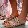 Khaki Summer Women's Slide Sandals Open Toe Beaded Flat Studs Shoes thumb 1