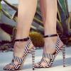 Black and White Shoes Slingback Peep Toe Stiletto Heels Ankle Sandals thumb 1