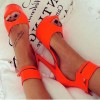 Orange Peep Toe Ankle Strap Platform Sandals Stiletto Heel Sandals thumb 1