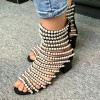 Pearls Gladiator Heels Open Toe Mid-calf Chunky Heels Sandals thumb 1