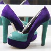 Purple and Turquoise Peep Toe Heels Suede Pumps with Platform thumb 1