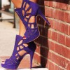 Purple Cut out Platform Sandals Peep Toe Stiletto Heels Caged Sandals thumb 1