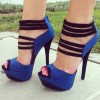 Royal Blue Heels Python Peep Toe Sandals Platform High Heels Shoes thumb 1