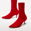 Red Stiletto Heels Pointy Toe Ankle Booties thumb 1