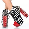 Zebra Print and Red Lace up Boots Chunky Heel Spike Studded Boots thumb 1