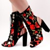Floral Lace up Boots Chunky Heel Slingback Ankle Boots thumb 1