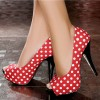 Women's Red Polka Dot  Peep Toe Heels Pumps Shoes thumb 1