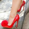 Coral Red Pom Pom Shoes Patent Leather Pointy Toe Stiletto Heel Pumps thumb 1