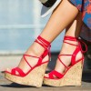 Red Suede Cork Wedges Open Toe Crisscross Strappy Platform Sandals thumb 1