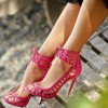 Rose Red Stiletto Heels Peep Toe Lace up Strappy Sandals thumb 1