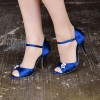 Royal Blue Heels Satin Peep Toe Stiletto Heels Wedding Sandals thumb 1