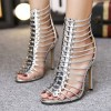 Silver Metallic Heels Open Toe Stiletto Heel Sexy Gladiator Sandals  thumb 1