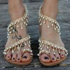 Silver Rhinestone Flats Bohemia Beaded Summer Beach Sandals thumb 1