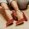 Tan Almond Toe Ankle Strap Lace Up Block Heels Pumps thumb 1