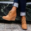 Tan Almond Toe Wedge Booties Lace Up Ankle Boots thumb 1