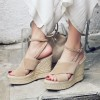 Women's Nude Wedge Sandals Ankle Strap Open Toe Platform Shoes thumb 1