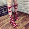 Red Gladiator Sandals Strappy Flats thumb 1