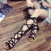 Women's  Black Cross-over Strappy Gladiator Sandals thumb 1