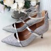 Women's Silver Dazzling Pointed Toe Stiletto Ankle Strap Heels Shoes thumb 1