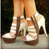 White and Brown Platform Sandals Hollow-out High Heels Shoes thumb 1