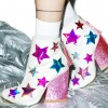 White and Pink Glitter Holographic Stars Chunky Heel Fashion Boots thumb 1