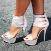 White Wedding Sandals Rhinestone Stiletto Heels Platform Sandals thumb 1