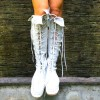 White Lace Up Boots Strappy Flat Knee High Boots thumb 1