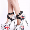 White Platform Heels Studded Cross-over Strap Pumps High Heel Shoes thumb 1