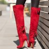 Women's 4 Inch Heels Red Stiletto Boots Knee-high Boots by FSJ Shoes thumb 1