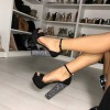 Black Chunky Heels Open Toe Glitter Platform Ankle Strap Sandals thumb 1