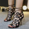 Women's Black Heels Hollow-out Strappy Sandals Open Toe Stiletto Heels thumb 1