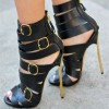 Women's Black Stiletto Heels Dress Shoes Buckle Strappy Sandals thumb 1