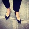 Women's Black Suede Pointy Toe Comfortable Flats With Bow thumb 1
