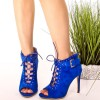 Cobalt Blue Ankle Booties Peep Toe Studs Suede Lace up Boots thumb 1