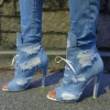 Women's Denim Boots Stiletto Heels Peep Toe Heels Ankle Booties thumb 1