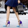 Esther Blue Ankle Strap Heels Pointy Toe D'orsay Pumps for Women thumb 1