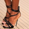 Black Satin Ankle Strap Sandals Open Toe Stiletto Heels for Women thumb 1