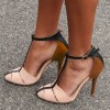 Women's Nude Stiletto Heels Pumps Ankle Strap Buckle T Strap Shoes thumb 1