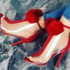 Red and Clear Pom Pom Shoes Stiletto Heel Peep Toe Ankle Booties thumb 1